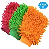 #9: 3 Pack Car Wash Mitts - Premium Chenille Microfiber Scratch-Free Cleaning Gloves - Ultra-soft Polishing Cloth,Double Sided,Use Wet or Dry