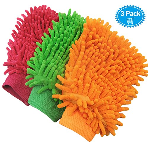 3 Pack Chenille Microfiber Premium Scratch-Free Car Wash Mitt - Double Sided,Colors May Vary (Washing Kit For Car compare prices)