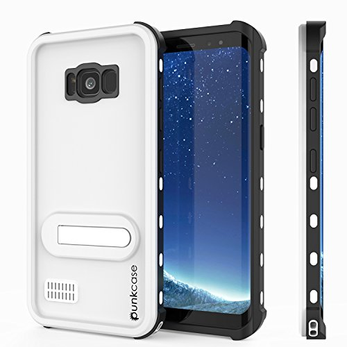 Galaxy S8 Plus Waterproof Case, Punkcase [KickStud Series] [Slim Fit] [IP68 Certified] [Shockproof] [Snowproof] Armor Cover W/Built-in Kickstand + Screen Protector for Samsung Galaxy S8+ [White]