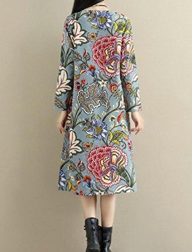 Confortables Femmes Imprimées Poches De Velours, Plus Épais Ethniques Mi-longueur Robe Pattern4