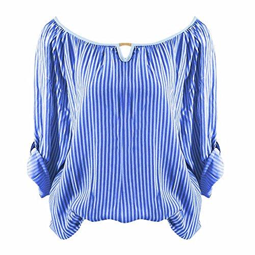 Et pour Printemps Manches LUBITY Automne DContract Chemise Chemisier Ladies 'Tops Haut Rayures Bleu ImprimE Longues Long Shirt S Chemise Femmes 5XL T ET Chic Tttq4Zr
