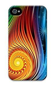 DIY 3D PC Back Case Cover for iPhone 4 Hard Shell Skin for iPhone 4 With Orange Ring by lolosakes