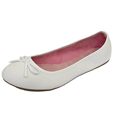 098751565 Ladies Flat White Slip-On Shoes Dolly Comfy Ballet Ballerina Casual Pumps  UK 3-8: Amazon.co.uk: Shoes & Bags