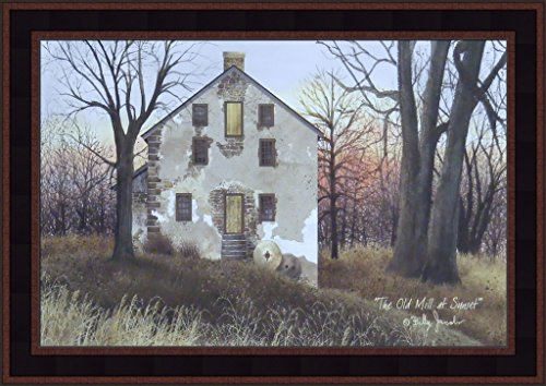 (The Old Mill At Sunset by Billy Jacobs 15x21 Country Americana Primitive Folk Art Framed Print Picture)