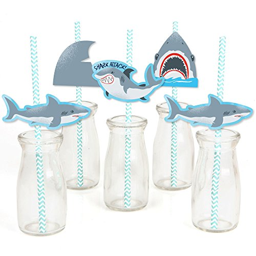 Shark Zone - Paper Straw Decor - Jawsome Shark Party or Birthday Party Striped Decorative Straws - Set of -