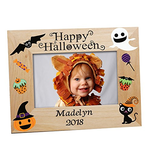 GiftsForYouNow Happy Halloween Characters Personalized Wood Frame ()