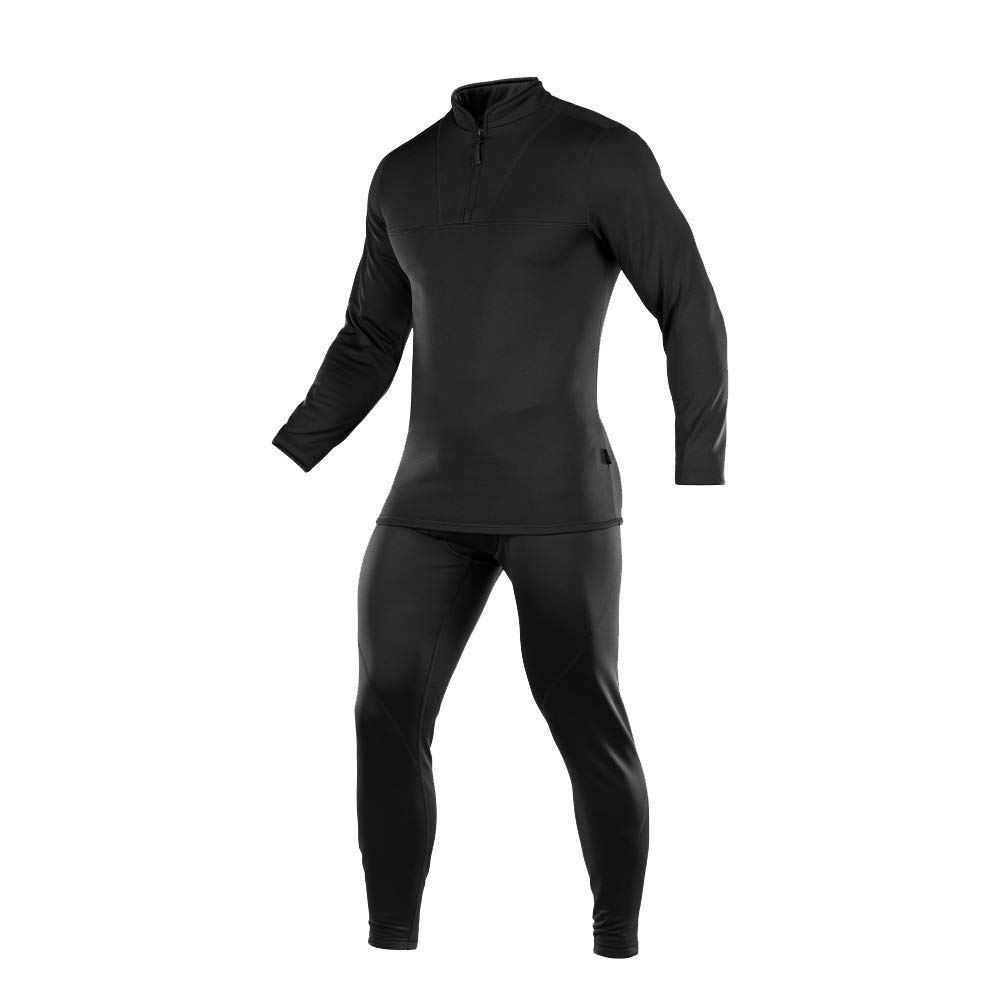 Mens Thermal Underwear Set Ultra Soft Fleece Lined Warm Extreme Cold Long Johns (Black, L) by M-Tac