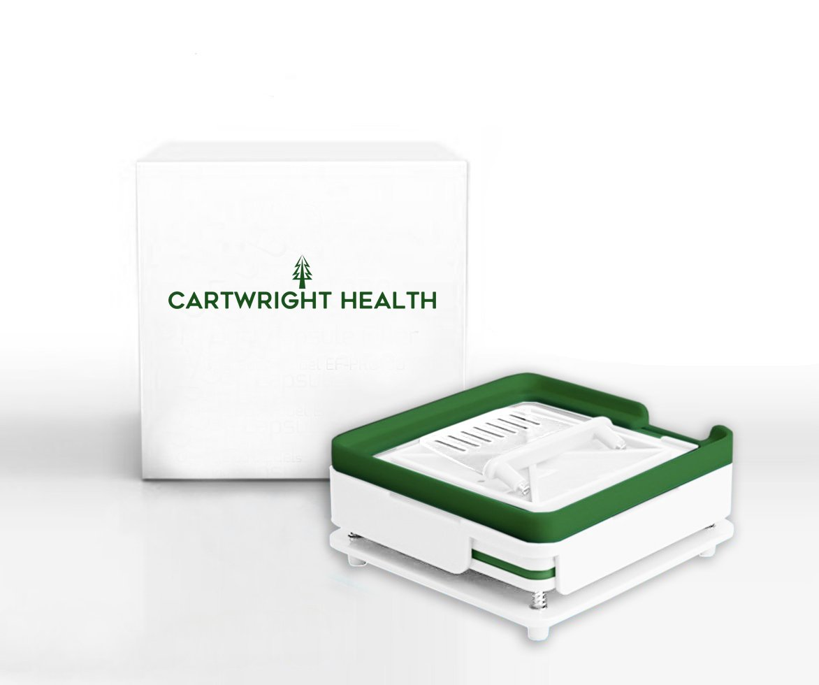 Cartwright Health Capsule Filling Machine - 100 Holes Vitamins & Coffee Manual Filler Machine Tray – Cap Filler Machine with Drug Tray, Spill Guard, Powder Spreader & Tamper – For Size 00 Capsules