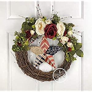 Patriotic Cabbage Rose Wreath 31