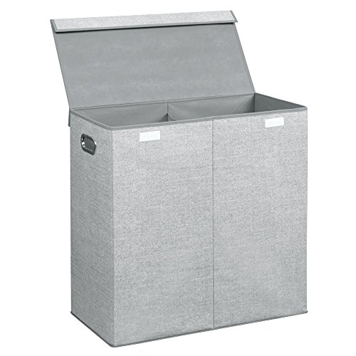 InterDesign Aldo Folding Laundry Clothes Double Hamper/Sorter with Handles and Lid - 2 Bins, Gray