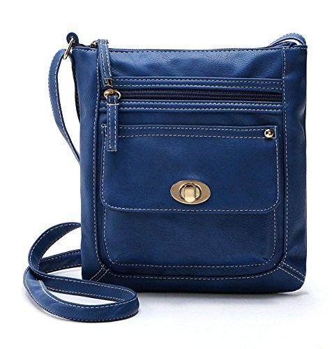 - Ecokaki(TM) Women's Genuine Leather Multi-Pocket Crossbody Bag Shoulder Bag Messenger Handbag Purse, Blue