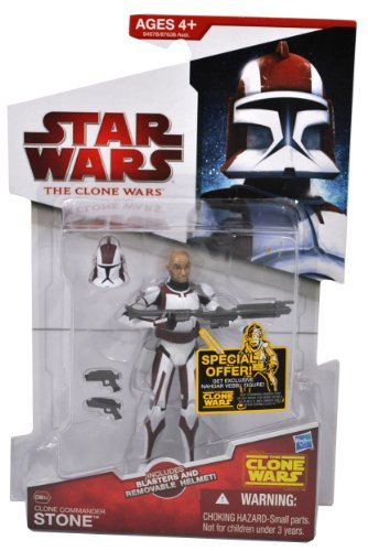(Star Wars 2010 The Clone Wars Animated Series 4 Inch Tall Action Figure - CW44 Clone Commander STONE with Removable Helmet. 2 Blaster Pistols and 1 Blaster Rifle)