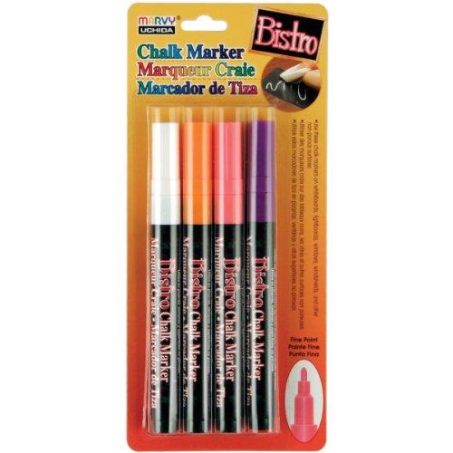 (Uchida, 482-4H, 4 Piece, Bistro Fine Line Chalk Marker Set, Fluorescent Colors)