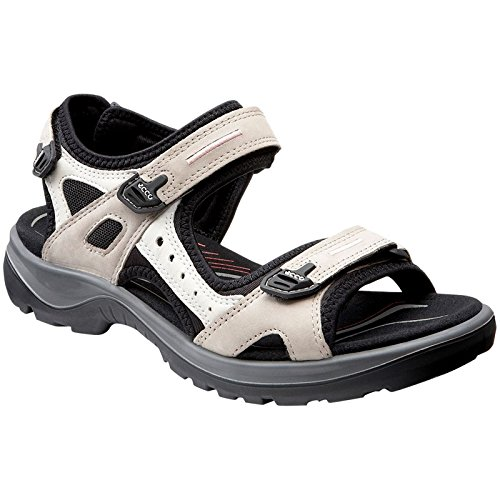 (ECCO Women's Yucatan outdoor offroad hiking sandal, Atmosphere/Ice White/Black, 9 M US)
