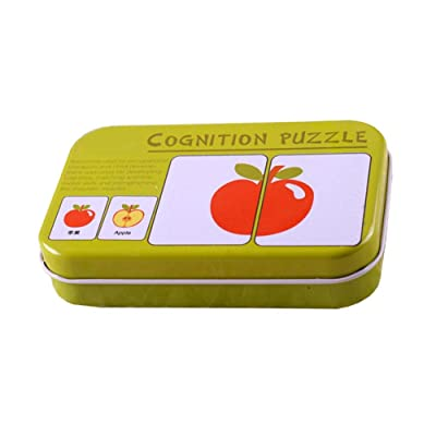 JVSISM Bebé Infantil Rompecabezas De Tarjetas Flash 32 Piezas Rompecabezas De La Cognición Rompecabezas para Emrejar De Formas Tarjeta De Juguetes En Una Caja - Frutas Y Verduras: Juguetes y juegos