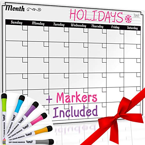 Dry Erase Monthly Calendar Set-Large Magnetic White Board...