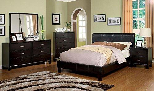 Bermondsey Leatherette Platform 5 Piece Queen, 2 Nightstand, Dresser, Mirror - Espresso - Espresso 5 Piece Platform