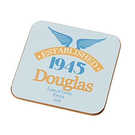 Personalised 70th Birthday Coaster Male Gifts Presents Amazoncouk Kitchen Home