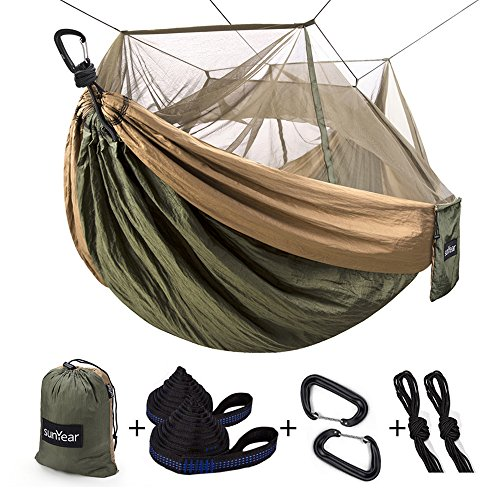 Parachute Nylon Travel Hammock - Single & Double Camping Hammock With Mosquito/Bug Net, 10ft Hammock Tree Straps & Carabiners | Easy Assembly | Portable Parachute Nylon Hammock For Camping, Backpacking, Survival, Travel & More