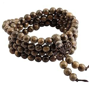 SUNYIK Black Rosewood 108 Tibetan Buddhist Mala Bracelet Beaded Prayer Bead(6mm)