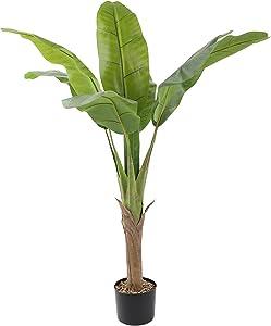 BIOINLIVING Artificial Bird of Paradise 3.93 FT Fake Tropical Tree Indoor Outdoor Garden Decoration Banana Leaf Tree Green