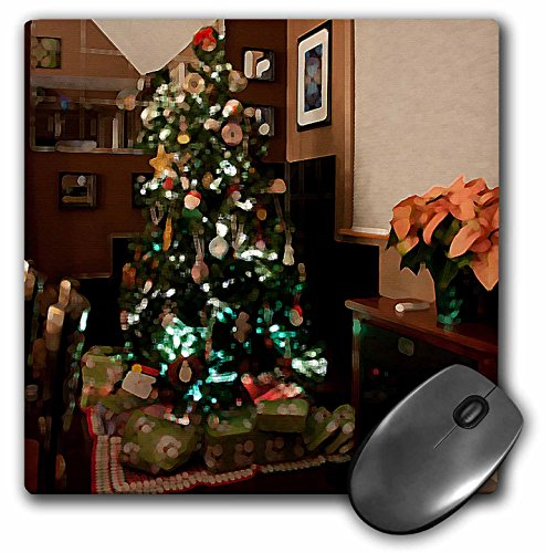 3dRose Jos Fauxtographee Christmas - Christmas Tree With Presents Wrapped Below It and Mirror and Black Tiles Behind on Hard Wood Floors - MousePad (mp_50535_1)