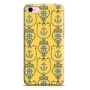 Loud Universe iPhone 7 Case Yellow Nautical Pattern Durable Light Weight Wrap Around iPhone 7 Cover