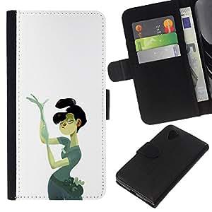 Be-Star la tarjeta de Crédito Slots PU Funda de cuero Monedero caso cubierta de piel LG Nexus 5 D820 D821 ( Police Forensic Detective Woman Art Painting )