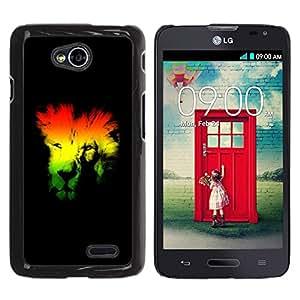 YiPhone /// Prima de resorte delgada de la cubierta del caso de Shell Armor - Rasta Lion - LG Optimus L70 / LS620 / D325 / MS323