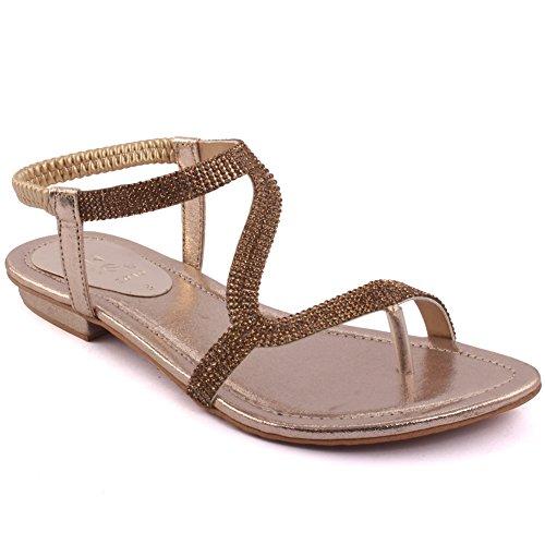 Karneval On Gold Größe Slip Sandalen Schuhe Elastischer Pailletten Zehenring ´Adele 8 verzierter Flache Party Damen Rückengurt UK 'Diamante 3 Unze xSH0Fpvqw