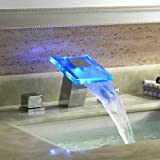 LightInTheBox Two Handles Chrome Finish LED Hydroelectric Waterfall Sink Faucet Picture