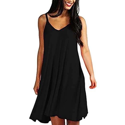 c73c97fd6a3 Image Unavailable. Image not available for. Color  Women s Sling Dresses  Loose Sundress Solid Casual Plain Simple Summer