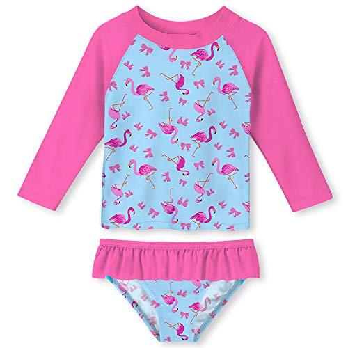 - UNIFACO Toddler Girls Long Sleeve Rash Guard Ruffle 2-Piece Swimsuit Set Tankini for Swimming Pool Size 6T
