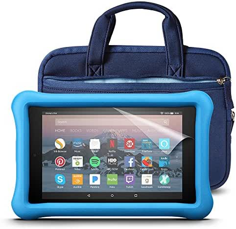 Fire HD 8 Kids Essentials Bundle with Fire HD 8 Kids Edition (Blue), NuPro Sleeve (Navy/Blue) and Screen Protector (Clear)