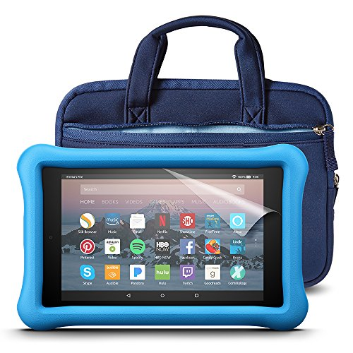 All-New Fire HD 8 Kids Essentials Bundle with Fire HD 8 Kids Edition (Blue), NuPro Sleeve (Navy/Blue) and Screen Protector (Clear)