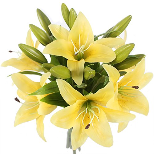 JAROWN 6 pcs Artificial Tiger Lily Real Touch Leaves Latex Flowers Wedding Bouquets for Home Office Decoration (Yellow) (Stem Banana Decoration)