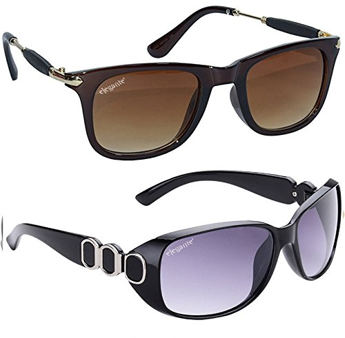 elegante' combo of UV protected Brown Square and Oversized Purple Sunglasses for Women