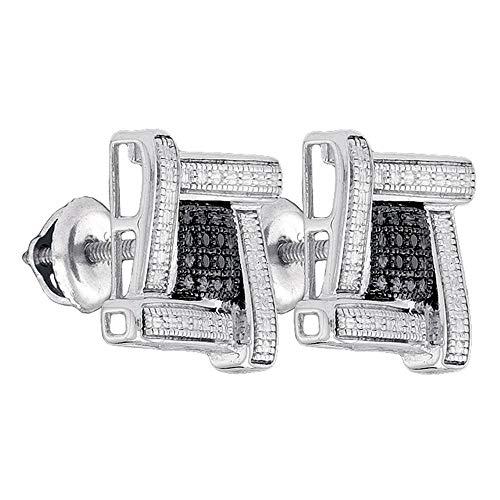 - The Diamond Deal Sterling Silver Mens Round Black Color Enhanced Diamond Square Cluster Stud Earrings .03 Cttw