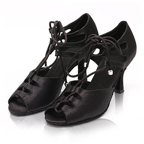 DLisiting Latin Dance Shoes Women Black Satin Lace up Salsa Ballroom Shoes (US7) by DLisiting (Image #1)