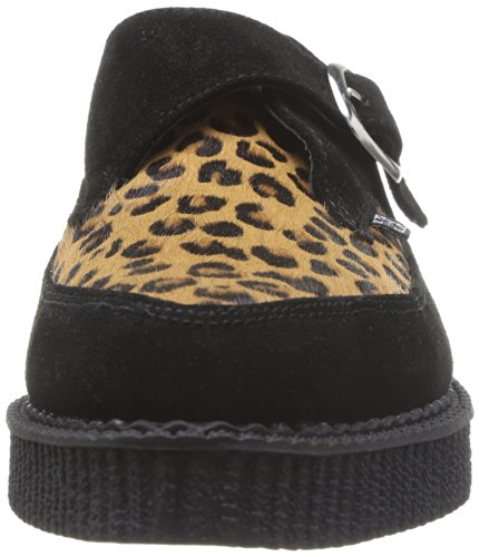 Mode Buckle Mixte Toe And Buckle Adulte 36 Noir Leopard Pointed Eu Monk Tuk Creeper Baskets black 7IpwB