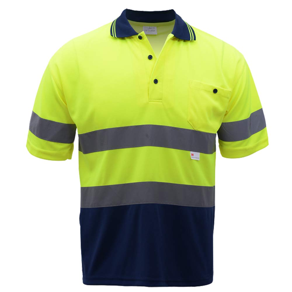 Two Tone Safety Short Sleeve Polo Shirt With 3M Reflective Tape For Men,Hi Vis Shirts Construction Work Wear (XXL, Yellow Navy)