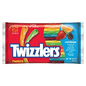 TWIZZLERS Twists, Rainbow Flavored Licorice Candy (Blue Raspberry, Grape, Lemonade, Orange, Strawberry, Watermelon), 12.4 Ounce Bags (Pack of 6) (Halloween Candy)
