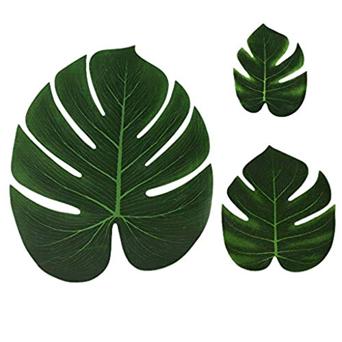 SUJING 36 pcs Artificial Palm Leaves Monstera Faux Tree Fronds Simulation Leaf for Luau Hawaiian Moana Tropical Themed Party Decoration Birthday Table Gift Decorations