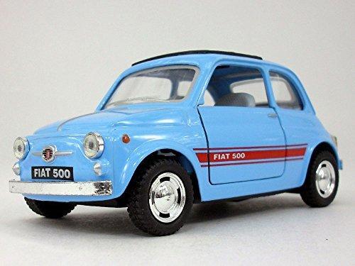 Classic Fiat 500 1/24 Scale Diecast Metal Model - LIGHT - Metal Light Blue