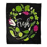 Semtomn Flannel Throw Blanket Green Arugula Lettuce Salads Fresh Leafy Vegetables Healthy Diet