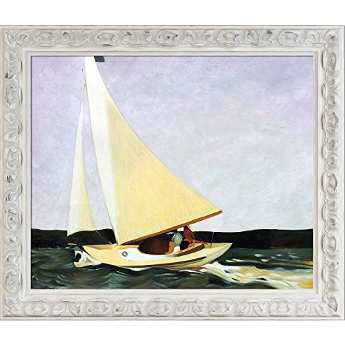 overstockArt Sailing, 1911 by Edward Hopper with Brimfield Cottage White Frame Hand Painted Oil Reproduction