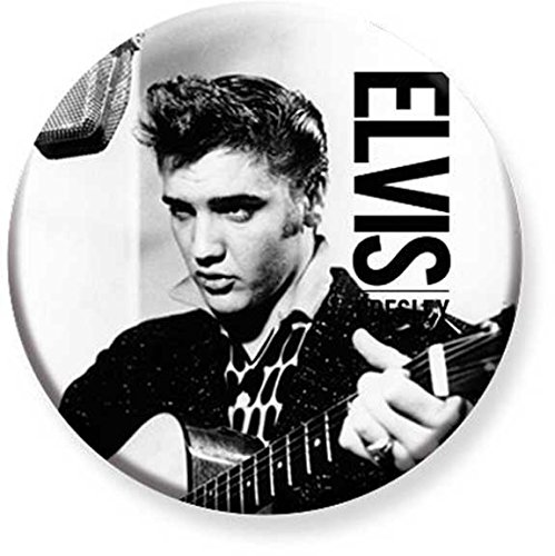 1.25 inch Pinback Button Badge Elvis Presley Black & White