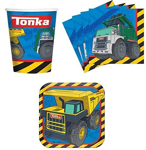 Tonka Construction Trucks Birthday Party Supplies Set Plates Napkins Cups Kit for 16 by Designware -