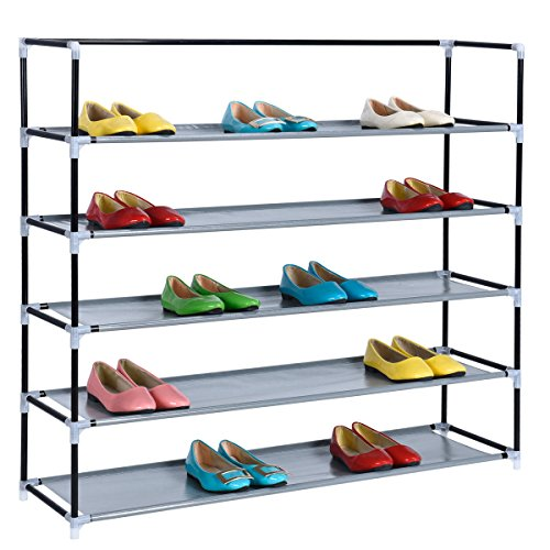 HAPPIFE 5-Tier Shoe Rack Space Saving Organizer Storage Bench - Holds 30 Pairs - Organize Your Closet Cabinet or Entryway - Easy to Assemble Stackable Organizer (5 Shelf Shoe Cabinet)