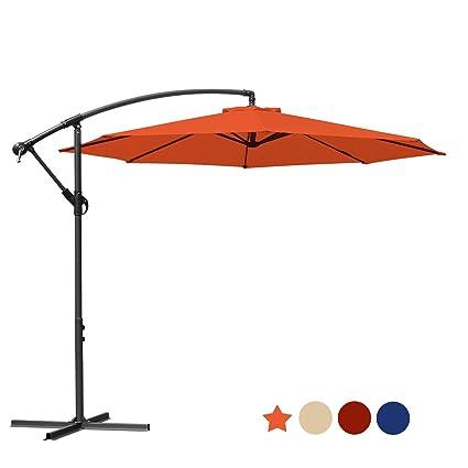 88f3ef993dac MASVIS Offset Umbrella 10 Ft Cantilever Patio Umbrella Outdoor Market  Umbrellas Crank with Cross Base, 8 Ribs (10FT, Orange)